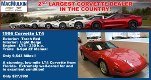1996 Corvette LT4 For Sale 0 Only 9,543 miles on the odometer!