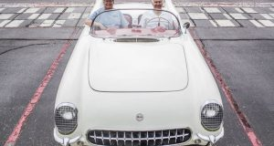 Dick Webber, right, of Bowling Green, and Scott Rogers of North Aurora, Ill., pose for a photo in the 1954 Corvette which formerly belonged to Weber and currently is owned by Rogers on Monday, June 27, 2016, at the Corvette Museum. (Austin Anthony/photo@bgdailynews.com)